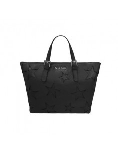 Mia Bag shopper leather con intagli a stella, colore nero