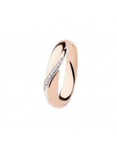 fede matrimoniale POLELLO diamanti kt.0.03 pink and white gold gr.5 mm.3.8