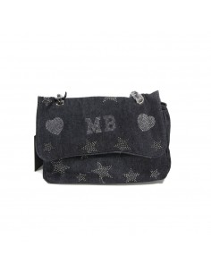 Mia Bag Tracolla strass a stella - Denim Nero