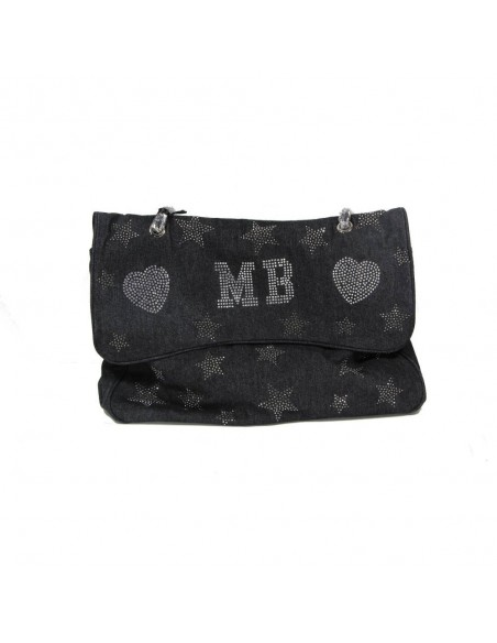 Mia Bag Tracolla Maxi strass a stella - Denim Nero