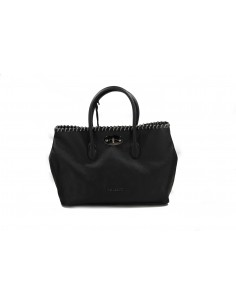 MIA BAG shopping leather con intreccio catena nero