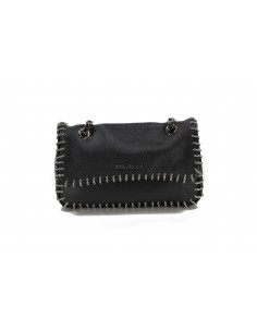 MIA BAG tracolla media leather con intreccio catena nero
