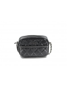 MIA BAG tracolla con zip leather trapuntata con borchietta - nero