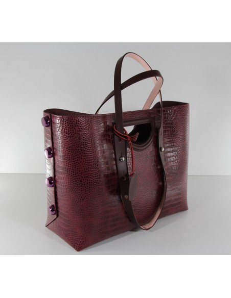 borsa donna shopper grande TWIST BAG bordeaux F295