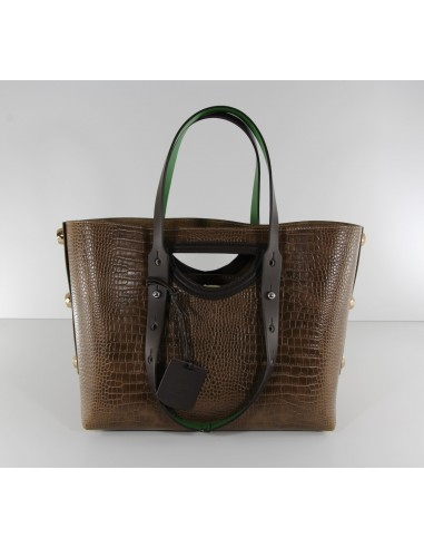 borsa donna shopper TWIST BAG stampa cocco brown manici verdi F297