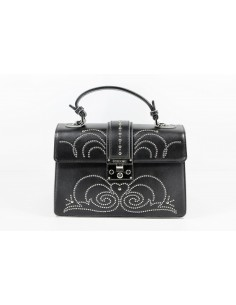 Borsa POMIKAKI Melania borchie, in ecopelle colore black