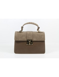 Borsa POMIKAKI Melania Suede, in ecopelle e velluto colore brown/chocolate/powder blue
