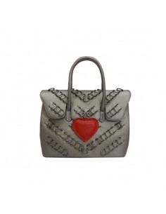 Mia Bag borsa due manici piercing heart piombo